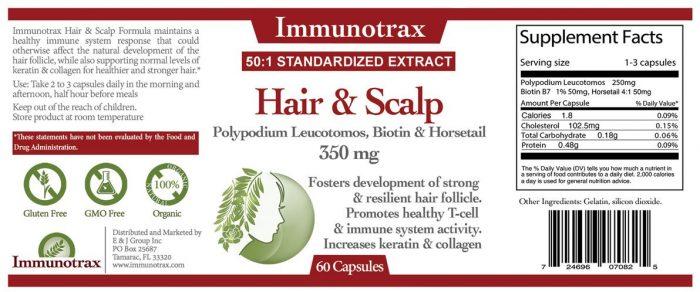Immunotrax Hair and Scalp Label