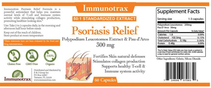 Immunotrax Psoriasis Relief Label